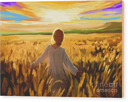 Woman In A Wheat Field Wood Print