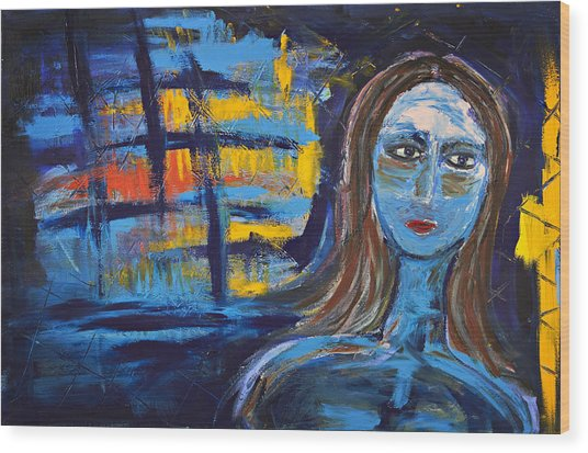 Woman In Blue Abstract Wood Print by Maggis Art
