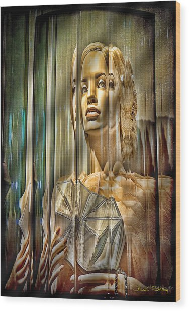 Woman In Glass Wood Print