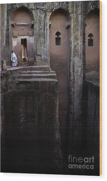 Woman In Lalibella Ethiopia Rock African Coptic Churches Wood Print