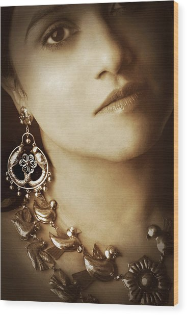 Woman In Mexican Silver Jewelry Wood Print
