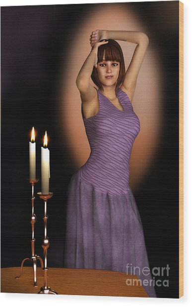 Woman In Purple Gown With Candles Wood Print