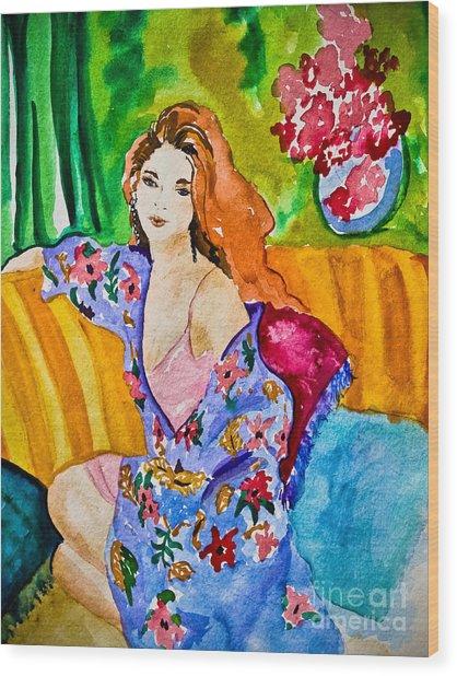 Woman In Silk Kimono Wood Print