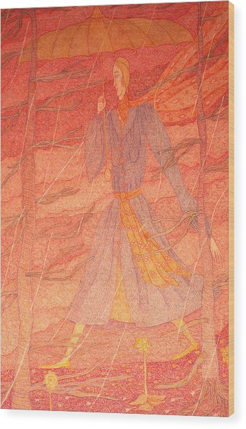Woman In The Rain Wood Print by Eleanor Arbeit