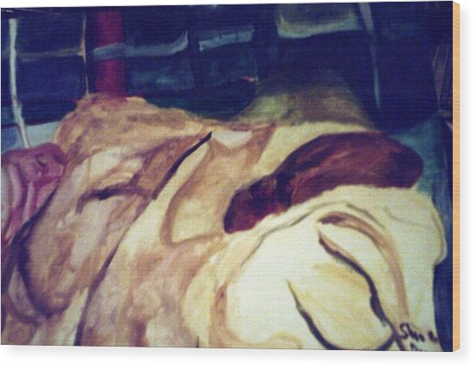 Woman Napping On A Couch  Wood Print