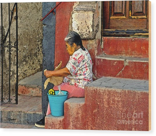 Woman Of Colonial Mexico Wood Print by Linda  Parker