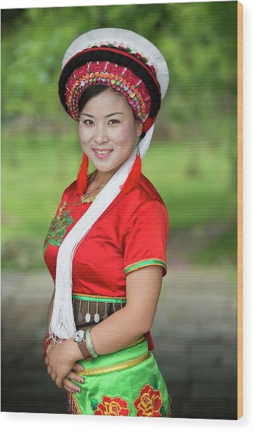 Woman Of The Bai Ethnic Minority In China Wood Print