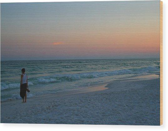 Woman On Beach At Dusk Wood Print