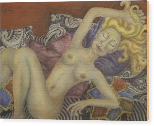 Woman On My Couch Wood Print by Claudia Cox