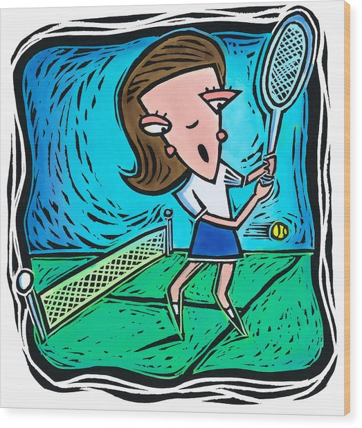 Woman Playing Tennis Wood Print by Jannine Cabossel