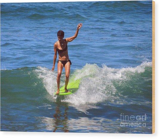 Woman Surfer Wood Print by Alexandra Jordankova