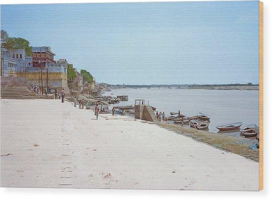 Woman Walking Along The Ganges River Wood Print