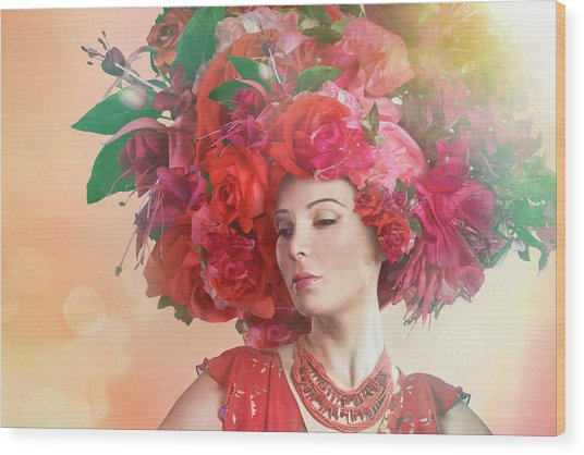 Woman Wearing A Big Red Hat Made Of Wood Print by Paper Boat Creative