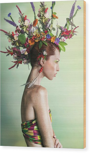 Woman Wearing A Colorful Floral Mohawk Wood Print by Paper Boat Creative