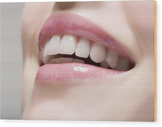 Woman Wearing Lip Gloss Wood Print by Image Source