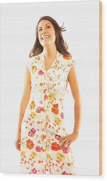Woman Wearing Sundress Wood Print by GSPictures