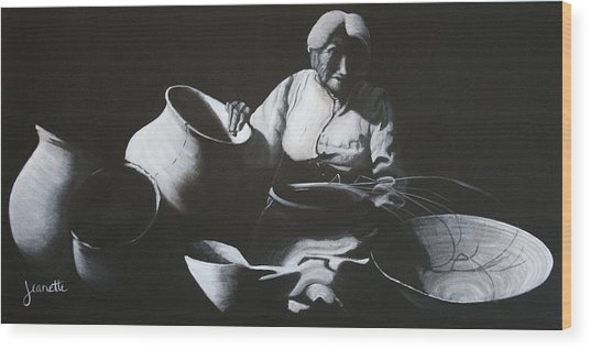 Woman Weaving A Basket Wood Print