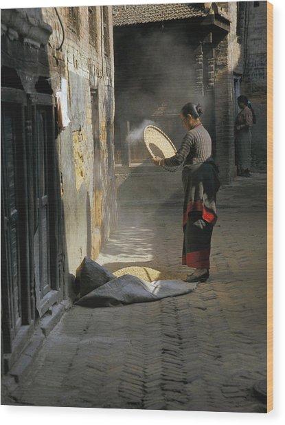 Woman Winnowing Wood Print