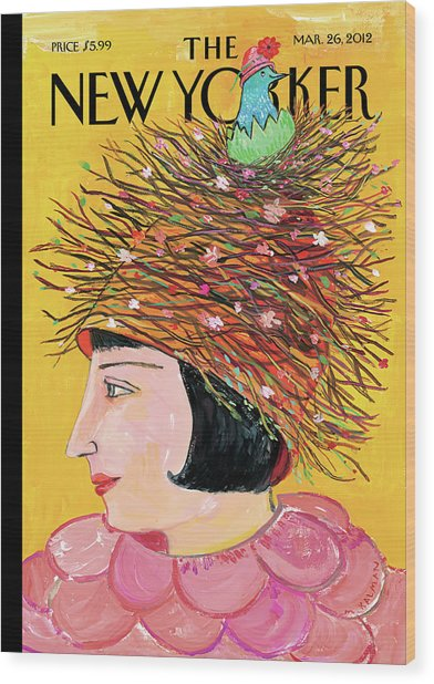 Woman With A Hat That Looks Like A Birds Nest Wood Print by Maira Kalman