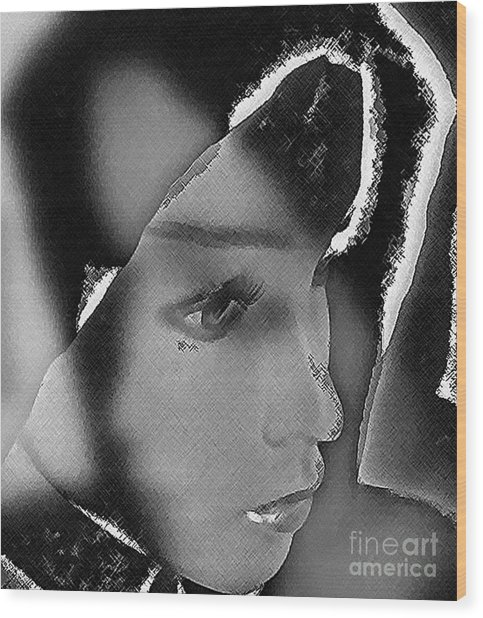 Woman With Broken Heart  Wood Print