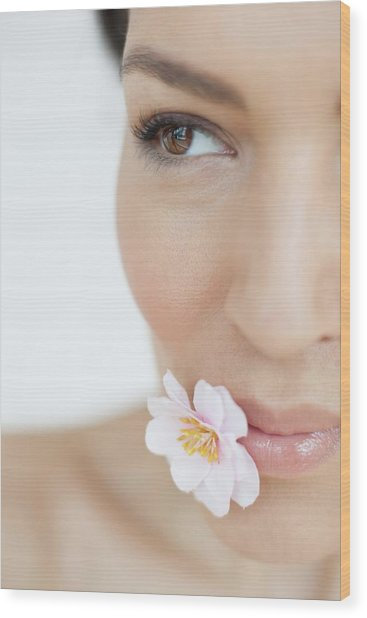 Woman With Flower Wood Print by Ian Hooton/science Photo Library