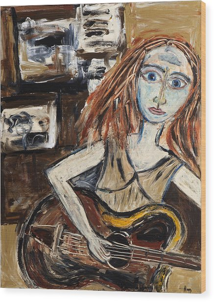 Woman With Guitar Wood Print by Maggis Art