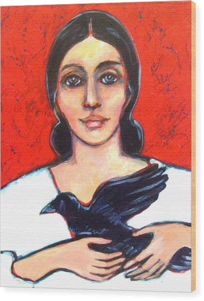 Woman With Raven Wood Print by Carol Suzanne Niebuhr