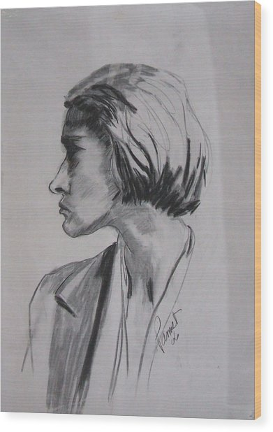 Woman's Profile Wood Print
