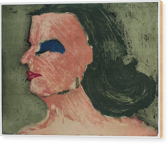 Woman's Profile Wood Print by Tim Southall