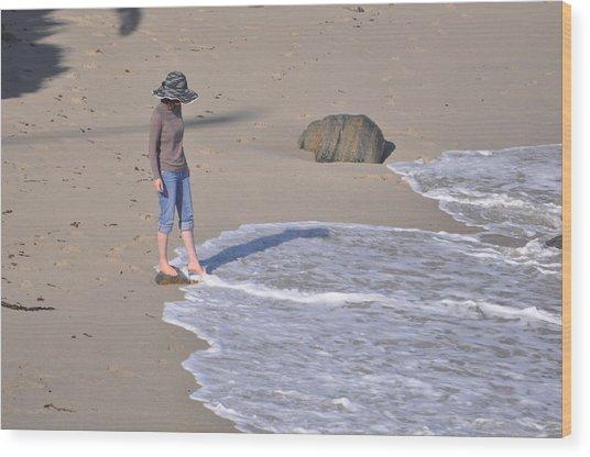 Women In Hat Wood Print by Pamela Schreckengost