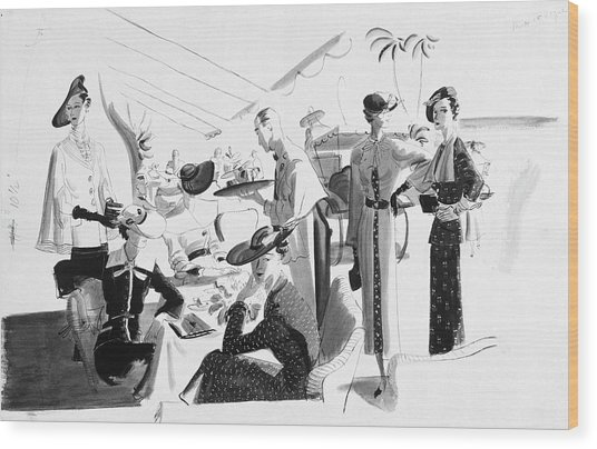 Women Lunching In A Tent Wood Print
