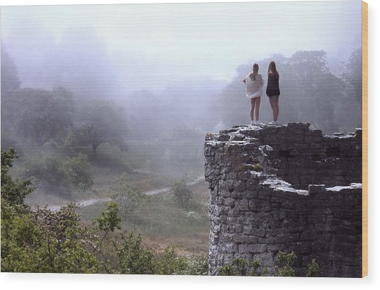 Women Overlooking Bright Foggy Valley Wood Print