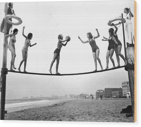 Women Play Beach Basketball Wood Print