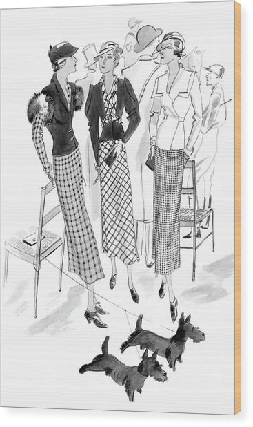Women Wearing Checked Suits Wood Print by Jean Pages