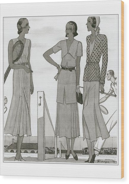 Women Wearing Designer Dresses Wood Print by Pierre Mourgue
