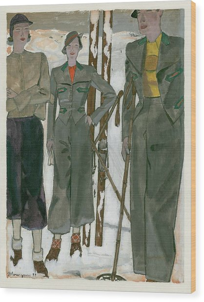 Women Wearing Mainbocher And Knize Wood Print by Pierre Mourgue