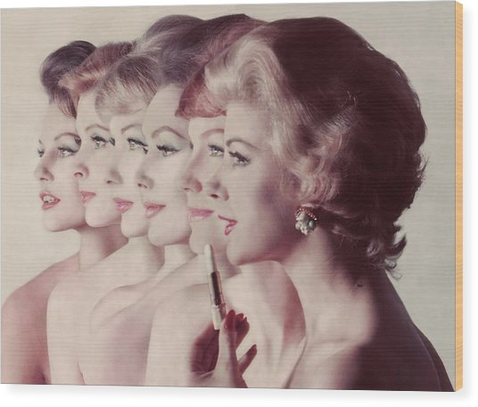 Women Wearing Revlon Lipstick Wood Print by John Rawlings
