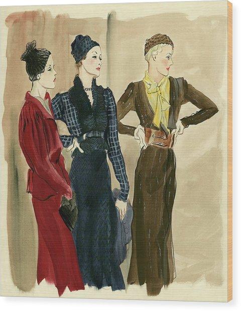 Women Wearing Schiaparelli Wood Print by Rene Bouet-Willaumez