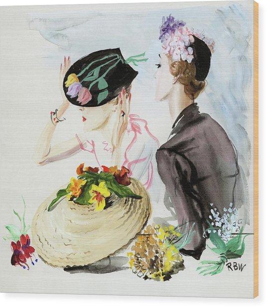 Women Wearing Suzy Hats Wood Print by Rene Bouet-Willaumez