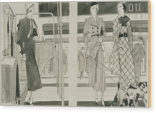 Women With Dogs By A Car Wood Print