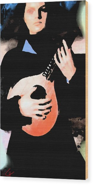 Wood Print featuring the painting Women With Her Guitar by Colette V Hera  Guggenheim