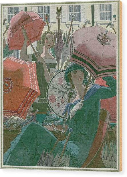 Women With Parasols Wood Print by Pierre Brissaud