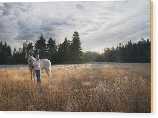 Women With White Horse In Forest Meadow Wood Print