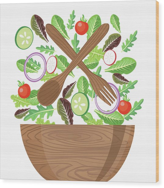 Wood Bowl Of Salad With Flying Wood Print by Diane Labombarbe