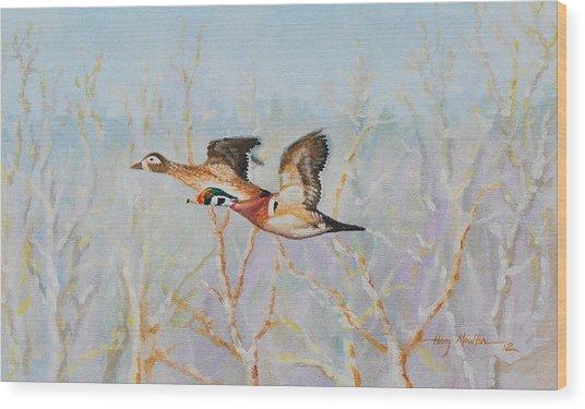 Wood Ducks Wood Print