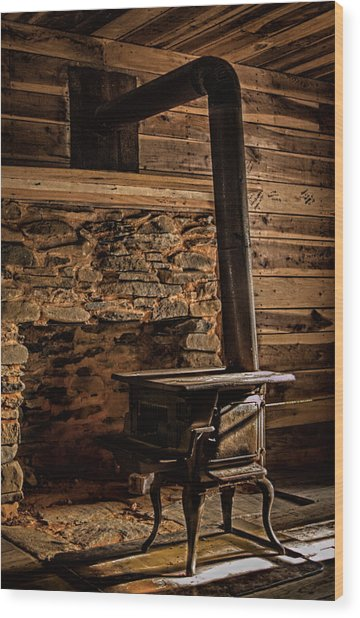 Wood Stove Wood Print by Dave Bosse