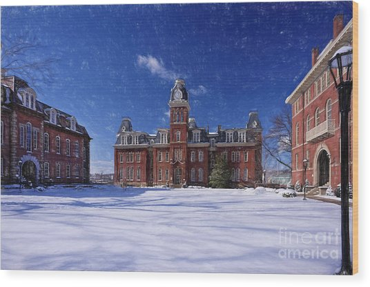 Woodburn Hall In Snow Strom Paintography Wood Print