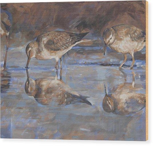 Woodcocks In A Pond Wood Print