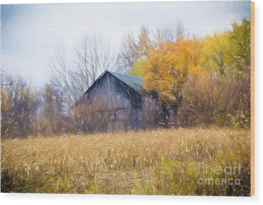 Wooden Autumn Barn Wood Print