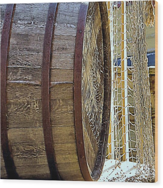 Wooden Barrel And Net Wood Print by Janice Drew